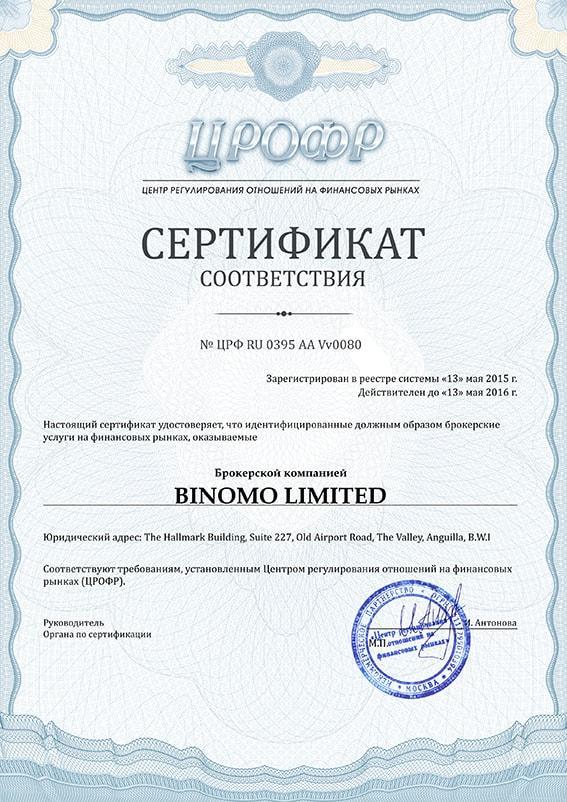 Лицензия Биномо