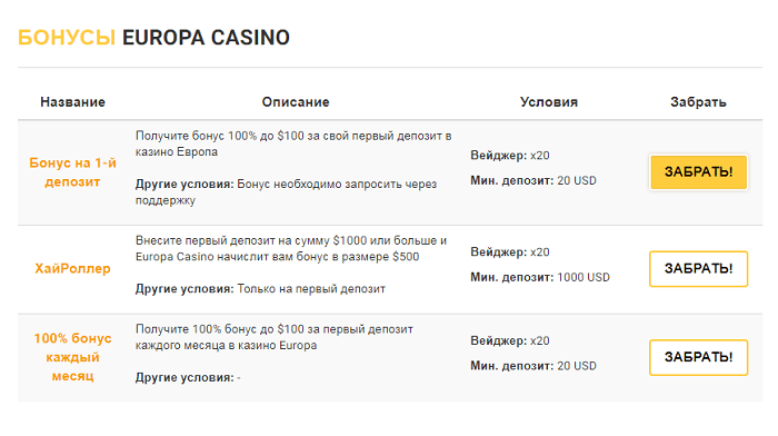 europa casino bonus code no deposit